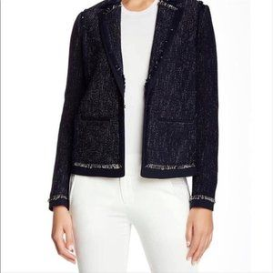 LKNW VINCE Navy Blue fringe blazer jacket XL LOVE
